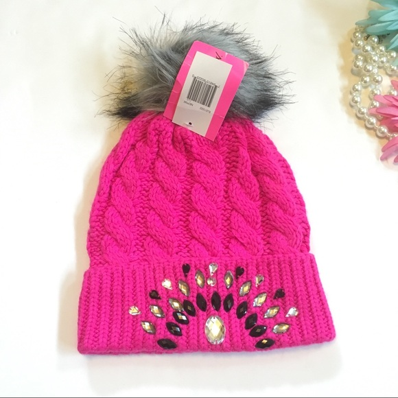 Betsey Johnson hot pink bling winter hat 02a6338fcbb